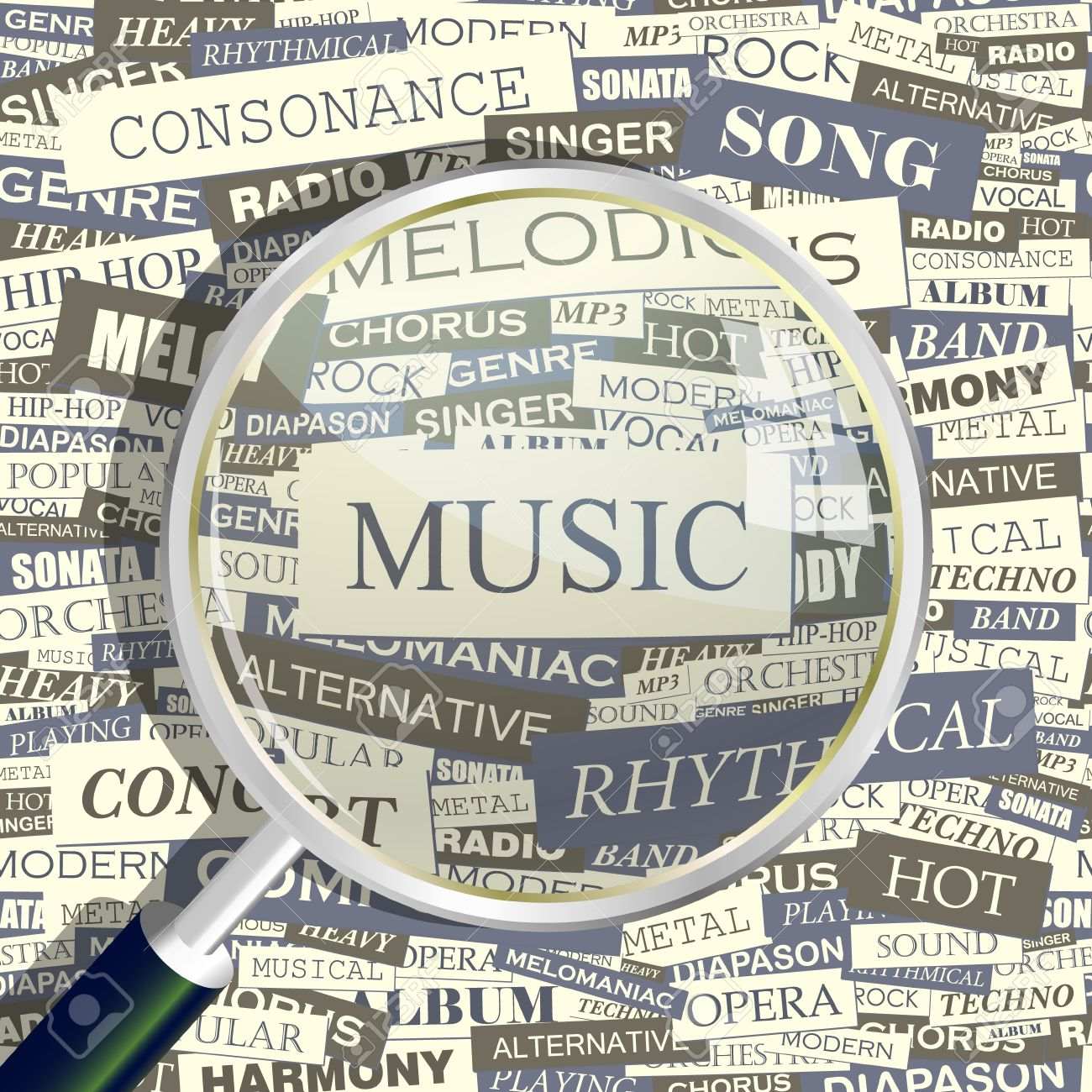 15176575-MUSIC-Magnifying-glass-and-seamless-background--Stock-Vector